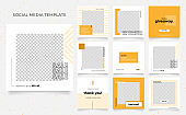 social media template banner blog fashion sale promotion. fully editable square post frame puzzle organic sale poster. fresh yellow element shape vector background