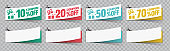 Sale vouchers and Coupon ticket card element template for graphics design. Vector illustration.
