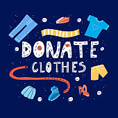 hand drawn vector illustration about clothes donation