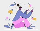 Girl using smartphone. Virtual communication and social media concept, vector illustration