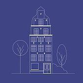 Vector illustration of european house in line art style