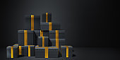3d rendering of sale concept with gift boxes