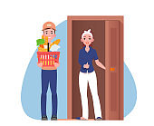 Courier gives the parcel to the customer near door. Food delivery icon. Vector flat illustration
