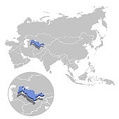 Uzbekistan in blue on the grey model of Asia map with zooming replica of country. Vector illustration