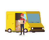 Courier with parcel on the background of a delivery service van. Vector illustration isolated on white background