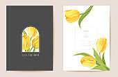 Floral wedding modern tulip vector Invitation. Flower Save the Date set. minimal spring card. Realistic template frame, foliage cover, summer background, trendy design, luxury brochure