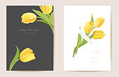 Wedding modern tulip flower Save the Date set. Vector minimal spring floral invitation card. Realistic template frame, foliage cover, summer background, trendy design, luxury brochure