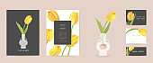 Wedding floral invitation. Modern tulip flower Save the Date set. Vector minimal spring card. Realistic template frame, foliage cover, summer background, trendy design, luxury brochure