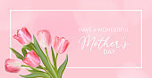 Happy Mothers Day banner. Vector greeting spring background. Realistic tulip flowers design. Woman Day, 8 March International day card illustration. Holiday banner template, Flyer, Invitation, Poster