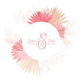Floral wreath with watercolor dry pastel flowers, pampas grass, tropical palm. Vector summer vintage orchid flower banner illustration. Wedding modern invitation, trendy greeting card, luxury design