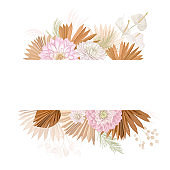 Watercolor floral wedding vector frame. Pampas grass, dalia flowers, dry palm leaves border template for marriage ceremony, minimal invitation card, decorative boho summer banner