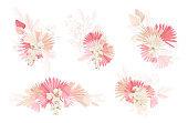 Set of watercolor dry flowers vector set. Pampas grass, dried palm leaves, orchid, lunaria flower illustration. Floral design elements for wedding invitation, modern decoration, boho summer frame