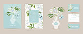 Wedding elderberry and butterfly floral Save the Date set. Vector white spring flowers boho invitation card. Watercolor template frame, foliage cover, modern poster, trendy design