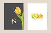 Women international day greeting. Vector floral card illustration. Realistic tulip flowers template background, spring concept, 8 march poster, luxury design flyer, party invitation, sale ad banner