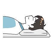 Sleeping sideways futon male upper body