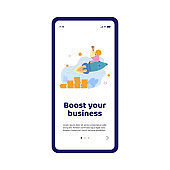 Vector mobile phone app for boost business, start new project or startup.