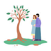 Young happy couple plant and care a tree in garden or park a vector illustration