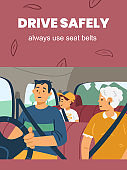 Road traffic rules banner calling to fasten seat belts, flat vector illustration.