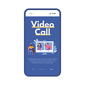 Mobile app on phone screen with online video call a vector illustration.