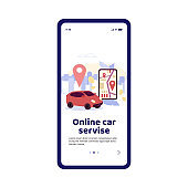 Online car service mobile app onboarding page, cartoon vector illustration.