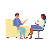 Man talking to psychologist, flat vector illustration isolated on background.