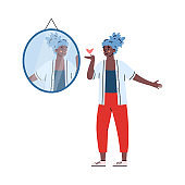 Woman likes her reflection in mirror, cartoon vector illustration isolated.