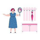 Overweight woman upset with her appearance cartoon vector illustration isolated.