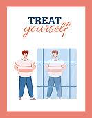Treat yourself concept of motivational card cartoon vector illustration.