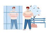 Confident self-assured man looks at mirror, cartoon vector illustration isolated.