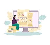 Man checks text for grammatical errors, cartoon vector illustration isolated.