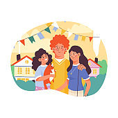 Concept hug day and happy family relationship a vector illustration.