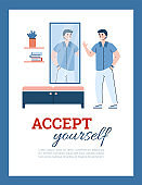 Happy man with positive self assessment, acceptance and esteem looks at mirror