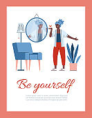 Be yourself card or poster with self-assured woman cartoon vector illustration.