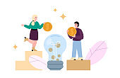 Concept of crowdfunding, investment for startup and charity for business idea.