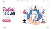 Refer a friend referral marketing web banner, flat vector illustration.