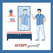 Accept yourself banner with self-satisfied man, cartoon vector illustration.
