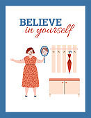 Believe in yourself banner with confident woman cartoon vector illustration.