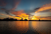 Spectacular clouds at sunset reflected in thailand,Asia