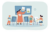 Cartoon artist teaching kids art of drawing