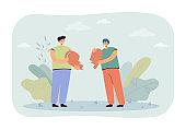 Cartoon boyfriend and girlfriend holding two halves of heart