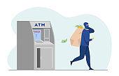 ATM burglar carrying sack of money