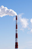 power plant with pipes. concept of environmental pollution, city