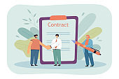 Two male cartoon businessmen shaking hands and signing contract