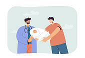 Cartoon doctor giving newborn baby to happy father