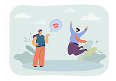 Cartoon woman sending flying kiss to happy man
