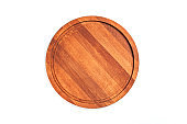 Empty wood cutting board on white isolated background for food cooking in vintage.