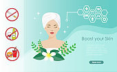 Boost your skin, dermatology, cosmetology concept. Beautiful woman in towel with brighten facial skin when stop smoking, alcohol and fast foods.