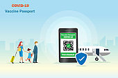 Family wearing face mask with luggages at airport and Covid-19 vaccine passport on smart phone.