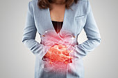 Business Woman touching stomach painful suffering from enteritis