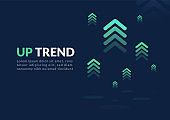 Uptrend digital abstract background.